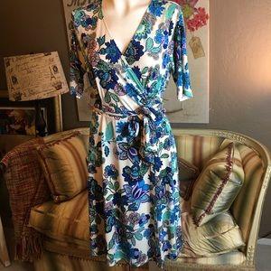 Donna Morgan Vintage Print Wrap Dress 8